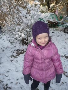 Sixtine, handicapée, à la neige