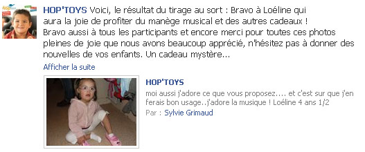 Gagnante du jeu Facebook Hop'Toys