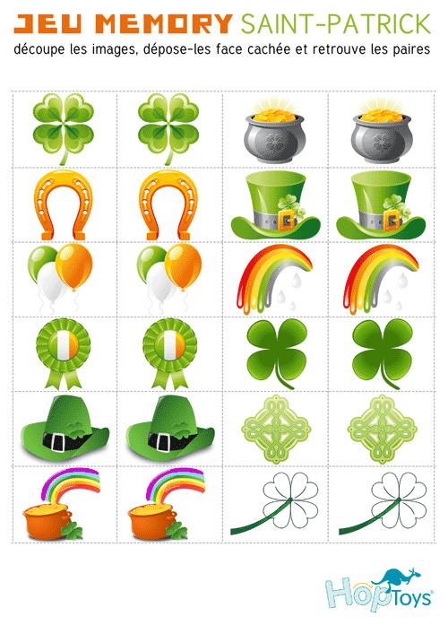 Le jeu mémory St Patrick Hop'Toys