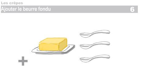 Crêpes : étapes 6, verser le beurre