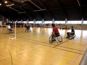 Démonstration de Badminton en fauteuil roulant