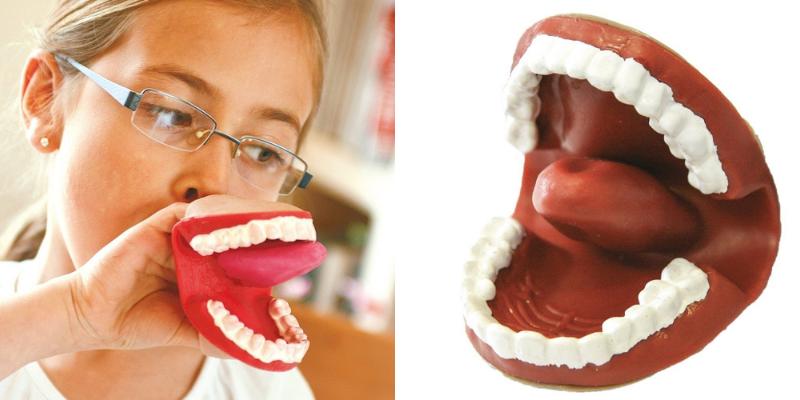 Une marionnette en forme de bouche pour la santé bucco-dentaire