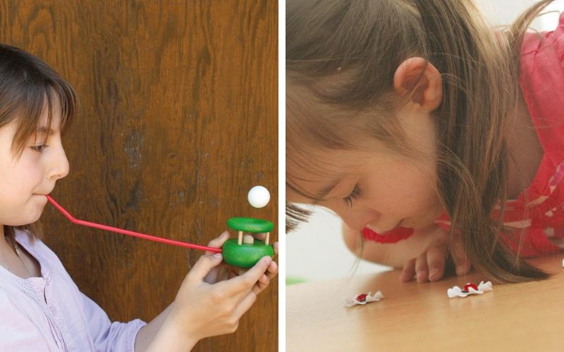 Des jouets pour travailler le souffle