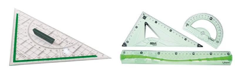 Fournitures scolaires ergonomiques : l'équerre et le kit géométrie.