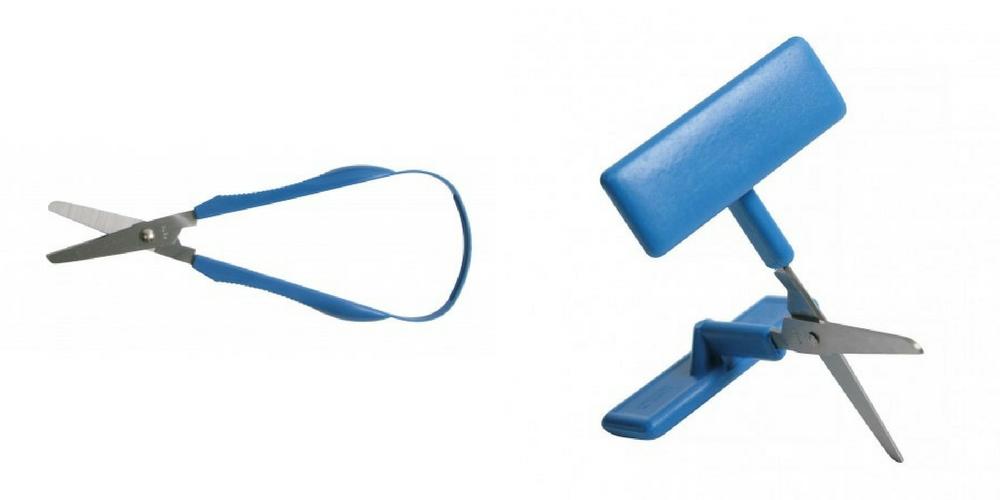 Des ciseaux adaptés pour palier au défaut de motricité fine.