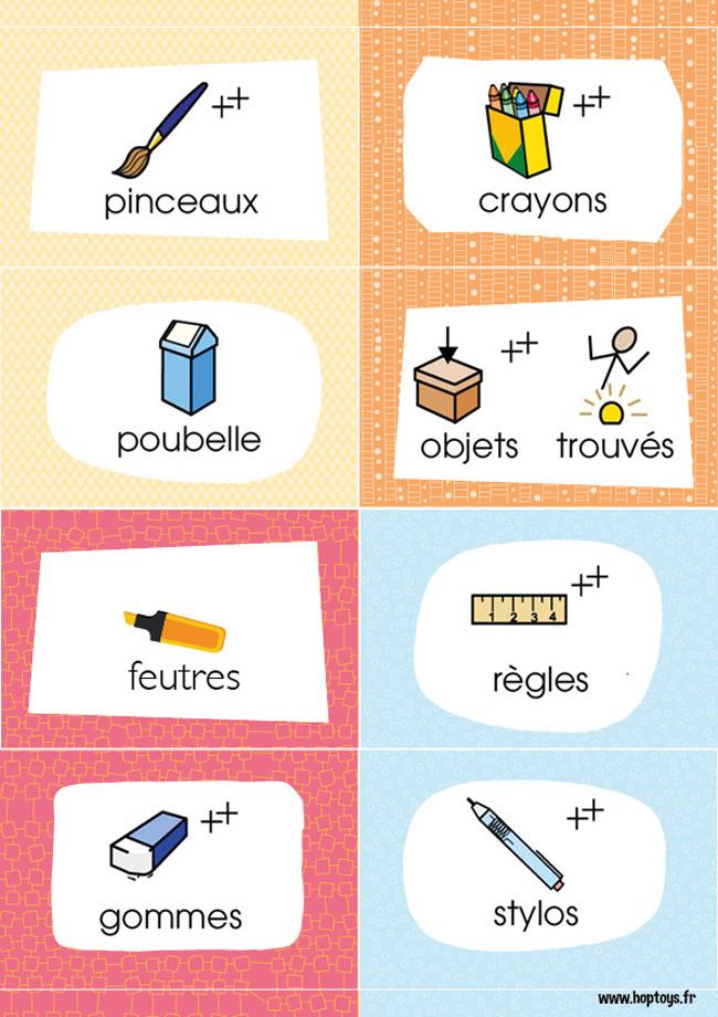 étiquettes pour la classe