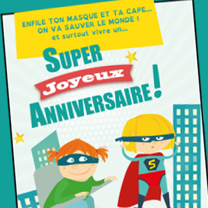 Carte d'anniversaire Supers Héros