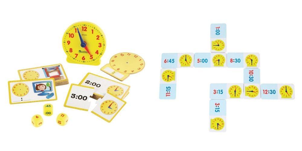 Le préparer au changement d'heure, en jouant avec le Kit d'activité pour comprendre le temps et Dominos pour apprendre l'heure