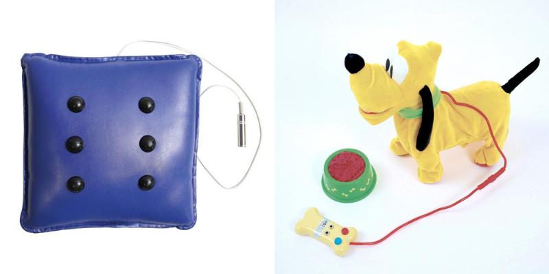 Coussin vibrant adapté et Pluto le chien