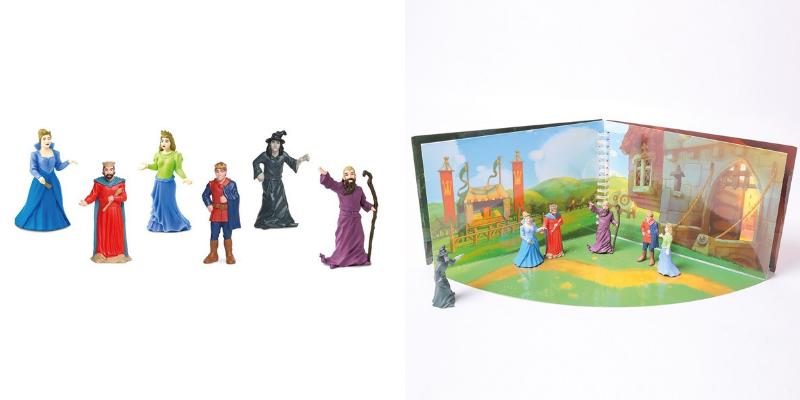 Figurines contes féériques et livre à jouer princes et princesses