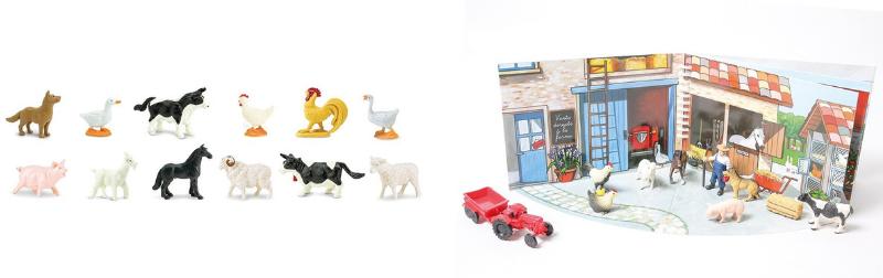 Livre à jouer la ferme et figurines animaux de la ferme