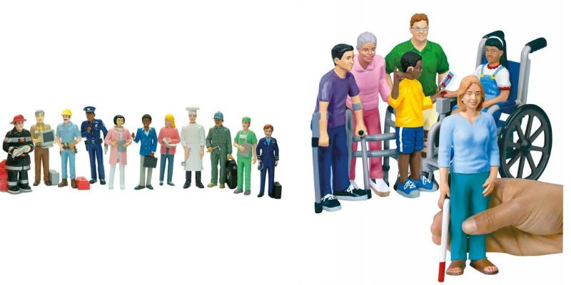 Figurines les métiers et figurines sensibilisation au handicap