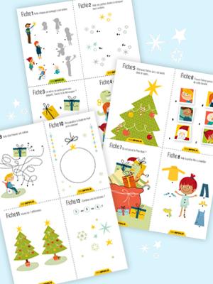 cartes d'activités de Noël