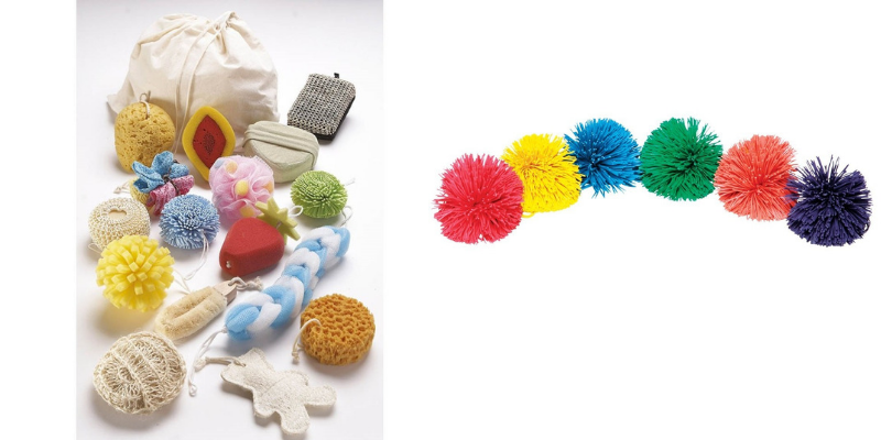 Kit'pratik éponges sensorielles et lot 6 balles pompons