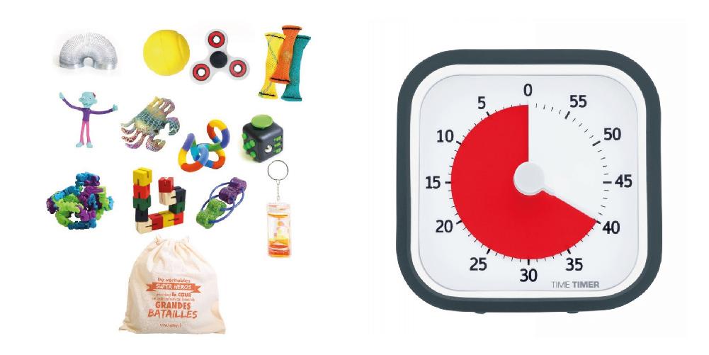 Le sac à fidget et le Time Timer