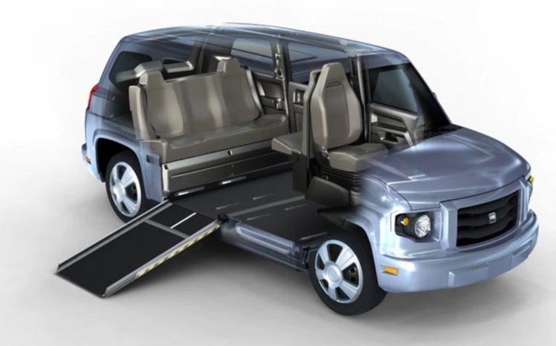 Le mV-1, commercialisé aux Etats-Unis, véhicule adapté aux fauteuils