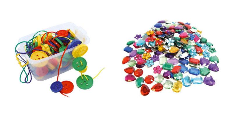 Barils 100 boutons de laçage et pierres précieuses
