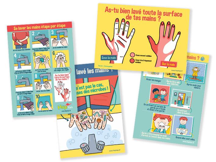 kit d'affiches à télécharger pour bien se laver les mains