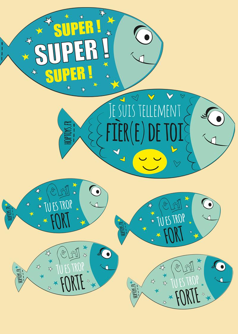 6 poissons bleus qui transmettent un message positif ou d'encouragement.