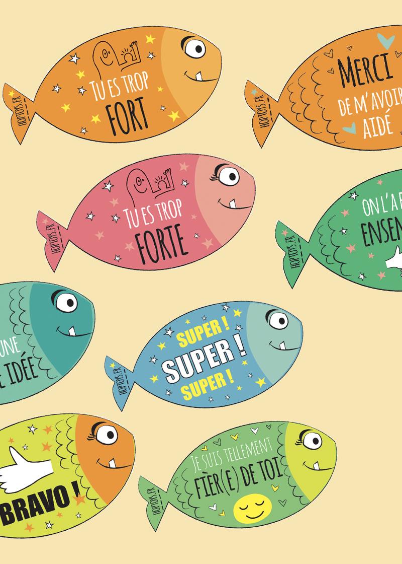 des poissons-compliments à accrocher dans le dos des amis pour le 1er avril.