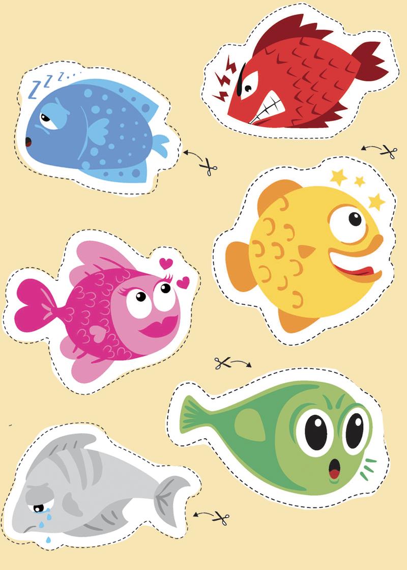 Des poissons aux humeurs et émotions variées à découper et accrocher dans le dos