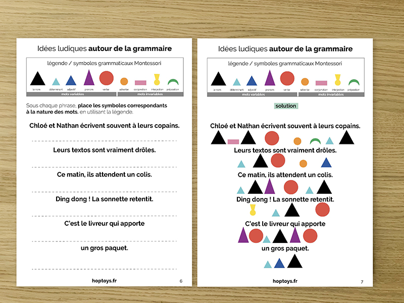 exercices grammaire Montessori