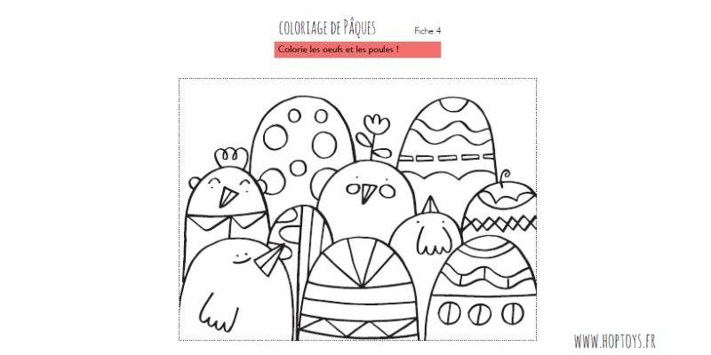Un coloriage de poules et d'œufs.
