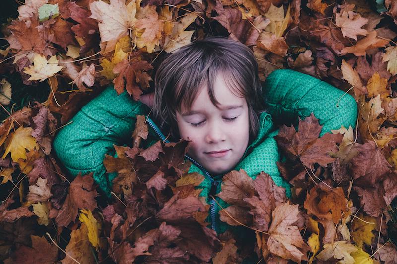Un enfant dort sur un lit de feuilles