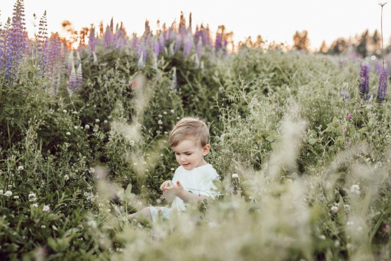 Un enfant dans un champ de fleurs à l'extérieur
