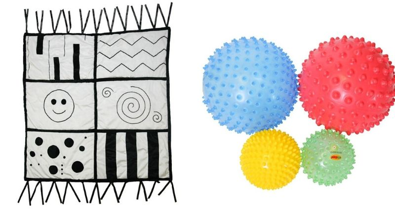 Tapis sensoriel noir et blanc FB289 / Lot de 4 balles hérisson HT4305