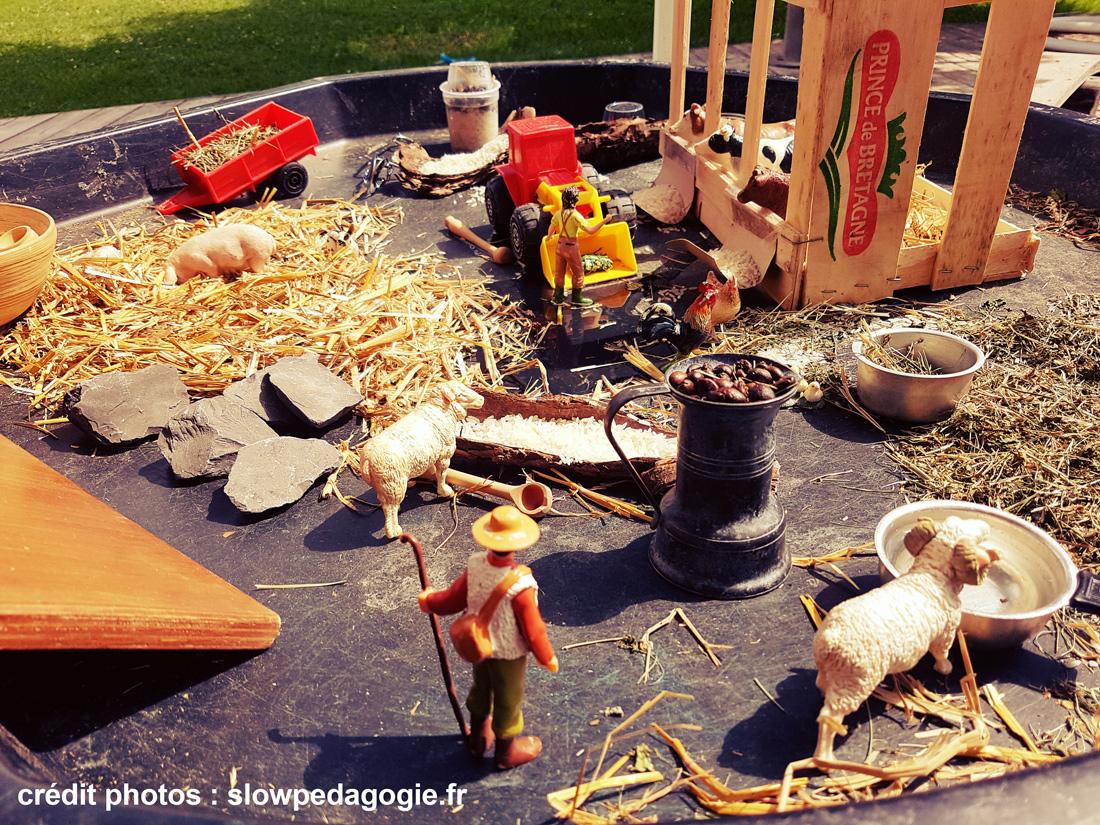Une mise en scène pédagogique dans un bac d'exploration sur le thème de la ferme