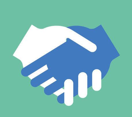 La coopération représentée par deux mains qui se serrent