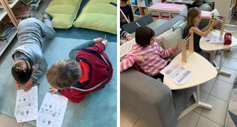 Des élèves étudient allongés par terre ou assis sur un canapé