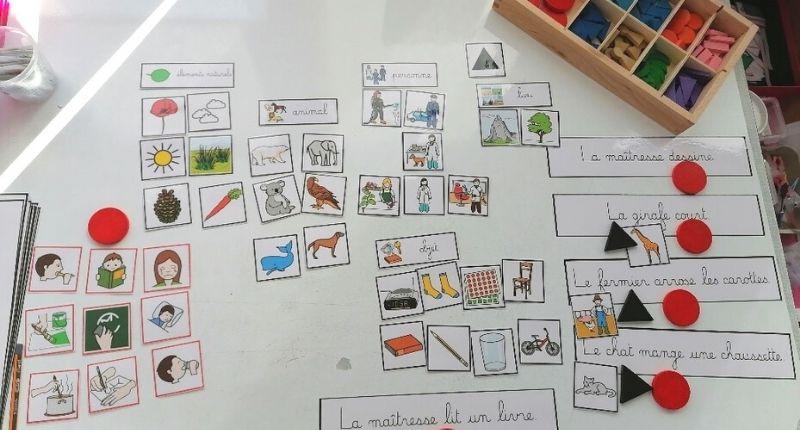 Grammaire Montessori : analyse de la phrase