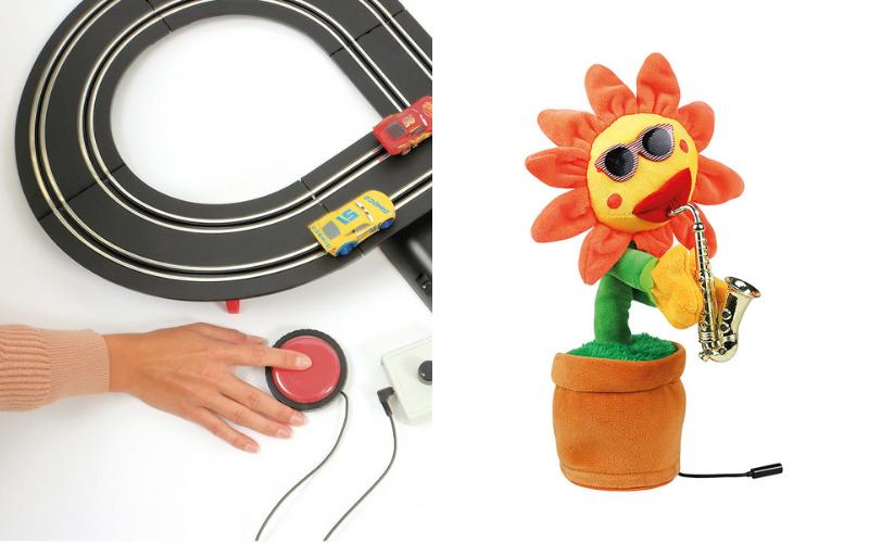 Un circuit voiture adapté et une fleur chantante