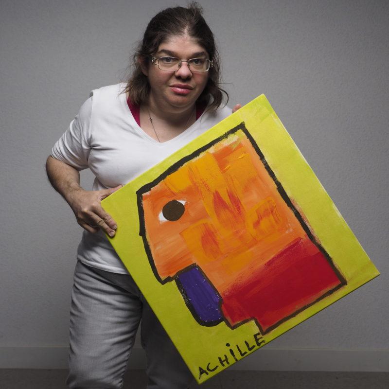 """Oeuvre nommé """"Achille"""" d'une artiste lors d'une précédente biennale art et handicap mental"""