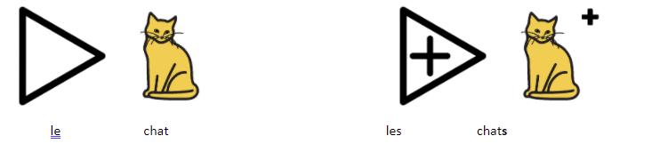 Faire des phrases à l'aide de pictogrammes. Exemple : le chat ; les chats