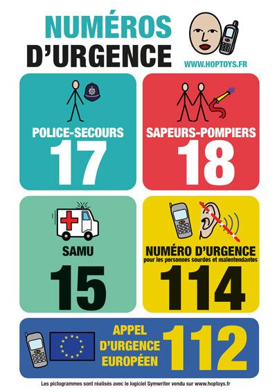 les numéros d'urgence