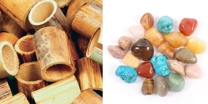 Des cercles de bambou et des pierres