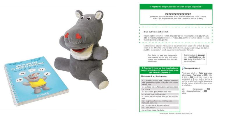"""Kit de l'articulation : marionnette Lippo l'hippo et le livre """"Pour en finir avec les troubles d'articulation"""""""