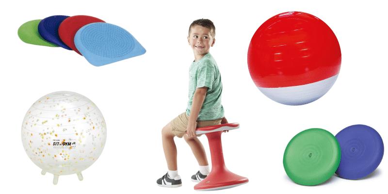 Des assises dynamiques (coussin Dynair, Sit'N'Gym, ballon équilibrant)