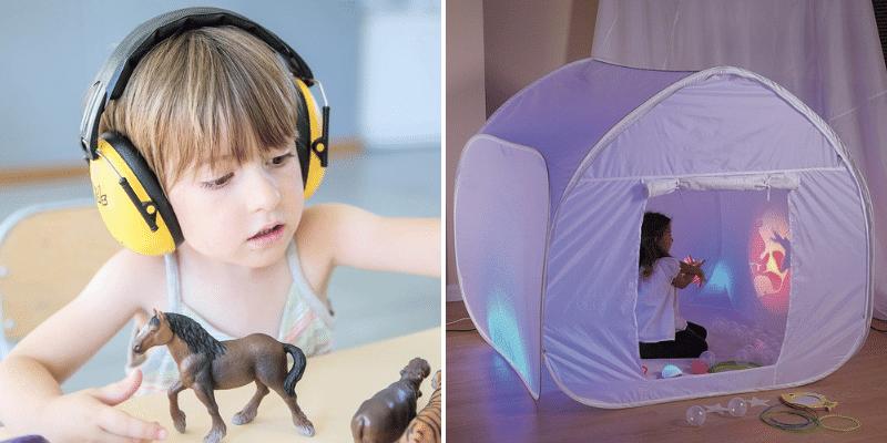 Un casque anti-bruit et une cabane sensorielle