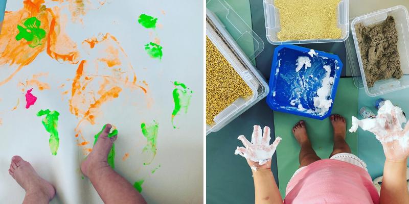 L'espace sensoriel avec de la peinture, du slime, du gel sensoriel...