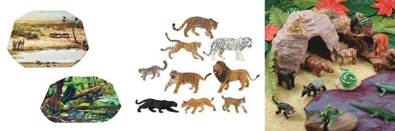 Des décors savane et forêt, des figurines animaux et une grotte pour créer une coin ludique dans sa chambre
