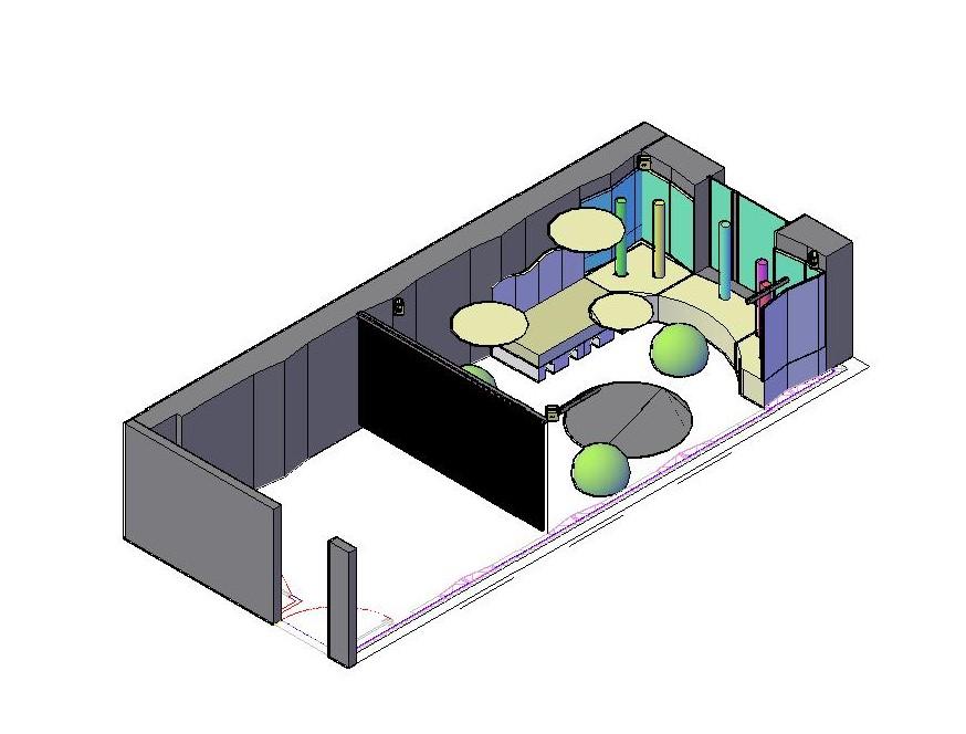 Un plan 3D de la salle sensorielle